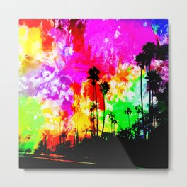palm tree at the California beach with colorful painting abstract background Metal Print