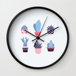 Blue Cacti Wall Clock