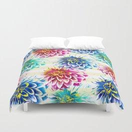 Colorful Dahlias Duvet Cover
