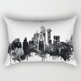 Dallas TexasBlack White Skyline Poster Rectangular Pillow