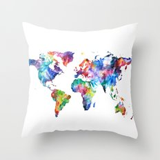 World Map Watercolor Painting Throw Pillow