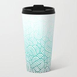 Gradient turquoise blue and white swirls doodles Travel Mug