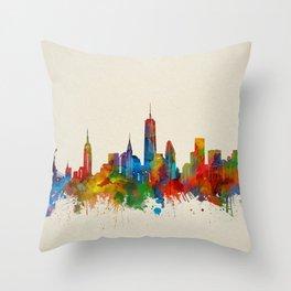 new york skyline watercolor 2 Throw Pillow