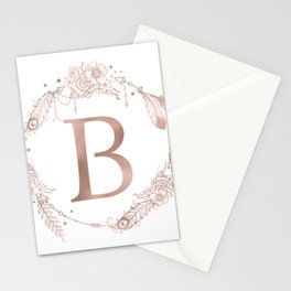 Letter B Rose Gold Pink Initial Monogram Stationery Cards