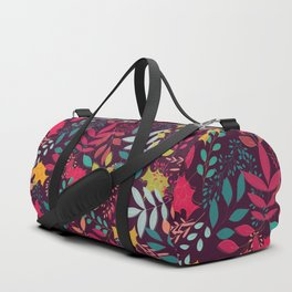 Autumn seamless pattern with floral decorative elements, colorful design Duffle Bag