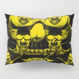 Yellow skull on a black Pillow Sham