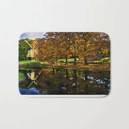 Autumn landscape with a windmill and pond in the Netherlands  Bath Mat