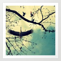 Stork//colora Art Print