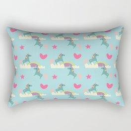 unicorn and rainbow blue Rectangular Pillow