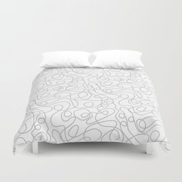 Doodle Line Art | Silver Gray Lines on White Background Duvet Cover