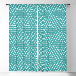 Alabaster White Solid Color Aztec Tribal Triangle Pattern on Aqua Teal Turquoise - Aquarium SW 6767 Blackout Curtain