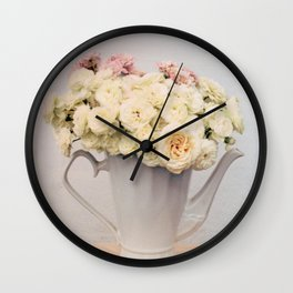 Pastel wedding roses in the pot - the day of Venus - flowers photography Wall Clock