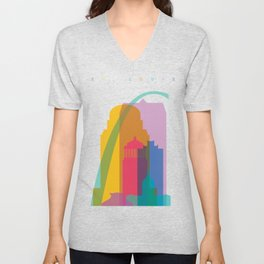 Shapes of St. Louis. Accurate to scale Unisex V-Neck