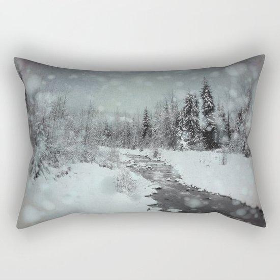Blue Winter Landscape Rectangular Pillow
