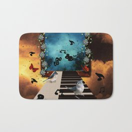 Music, piano with birds and butterflies Bath Mat