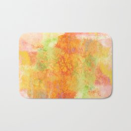 PASTEL IMAGININGS 3 Colorful Pretty Spring Summer Orange Yellow Peach Abstract Watercolor Painting Bath Mat