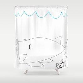 Burping Whale Shower Curtain