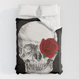 Rose Skull Black Duvet Cover