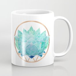 Modern Blue Succulent with Metallic Accents Coffee Mug