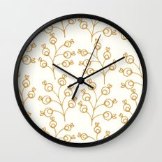 Golden floral pattern on cream Wall Clock