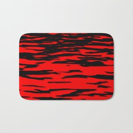 Black red abstract wave Bath Mat