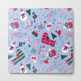 Christmas Birdies - Blue Metal Print