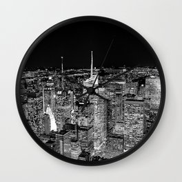 New York City Skyline Night Black & White Wall Clock