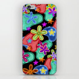 Colorful Retro Flowers Fractalius Pattern iPhone Skin