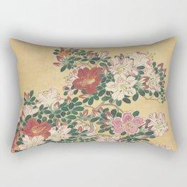 Vintage Flowers Azalea Japanese Painting Rectangular Pillow