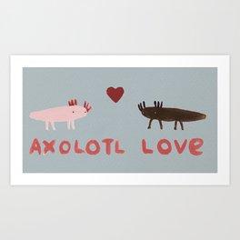 Axolotl Love Art Print