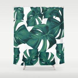 Monstera Leaves Pattern #3 #tropical #decor #art #society6 Shower Curtain