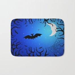 Bats in the dark forest for Halloween Bath Mat