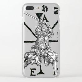 VomTag. Medieval Renaissance Swordsman Clear iPhone Case