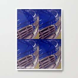 1955 Vintage Chrysler 300 Car Art Painting - Deep Blue Metal Print