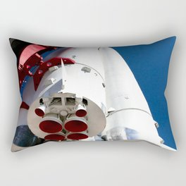 Ancient Rocket Boosters And Engines Against The Blue Sky Rectangular Pillow