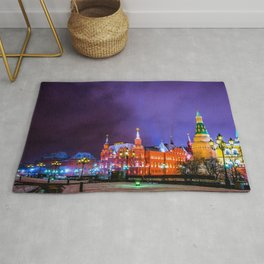 Moscow Manege Square, Museum Of Russian History, The Kremlin At Winter Night Rug