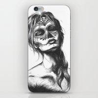 sugar skull iPhone & iPod Skins featuring Sugar Skull by Lena Safaniouk