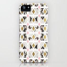 Modern Marble Gold Blush Pink Geometric iPhone Case