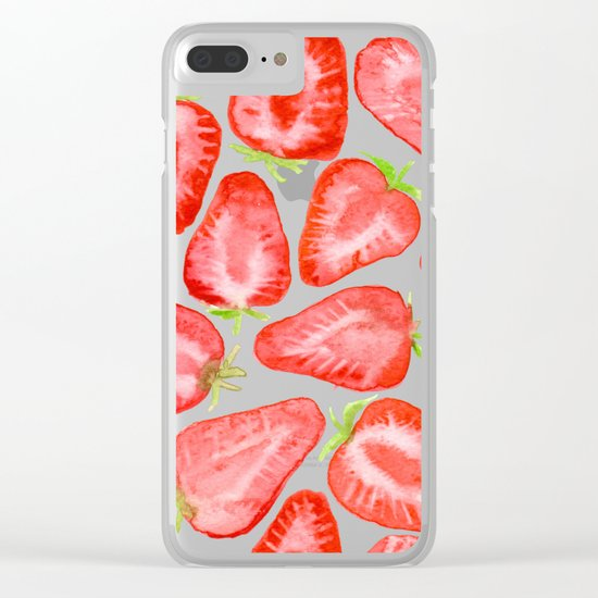 Watercolor strawberry slices pattern Clear iPhone Case