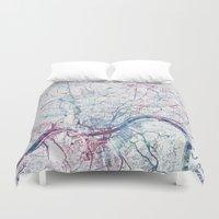 cincinnati Duvet Covers featuring Cincinnati map by MapMapMaps.Watercolors