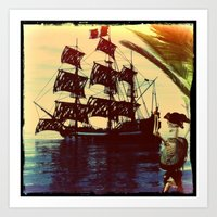 pirate ship Art Prints featuring pirate ship by Ancello