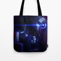 mass effect Tote Bags featuring Mass Effect: Legion by Ruthie Hammerschlag