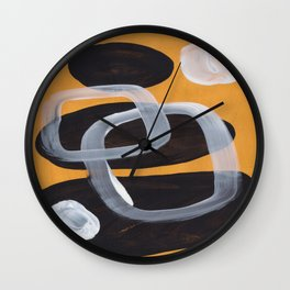 Mid Century Abstract Black & Yellow Fun Pattern Vintage Black White Bubbles Wall Clock