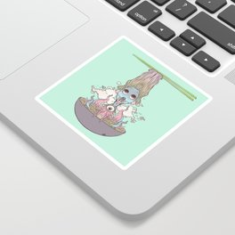 Ramen Noodle And Octopus Tentacle Anime Girl Sticker