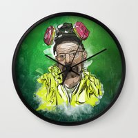 walter white Wall Clocks featuring Walter White  by Madows