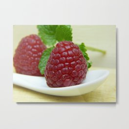 Raspberry Close Up - Cafe or Kitchen Decor Metal Print