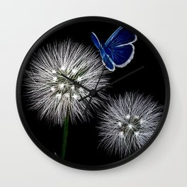butterfly blue on dandelion Wall Clock