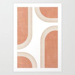 Mid Century Modern 4 - Geometrical Abstract - Minimal Print - Terracotta Abstract - Burnt Sienna Art Print