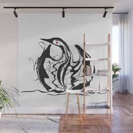 Swan-1. Black on white background-(Red eyes series) Wall Mural