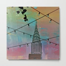 Lights and Chrysler Building in New York City Metal Print